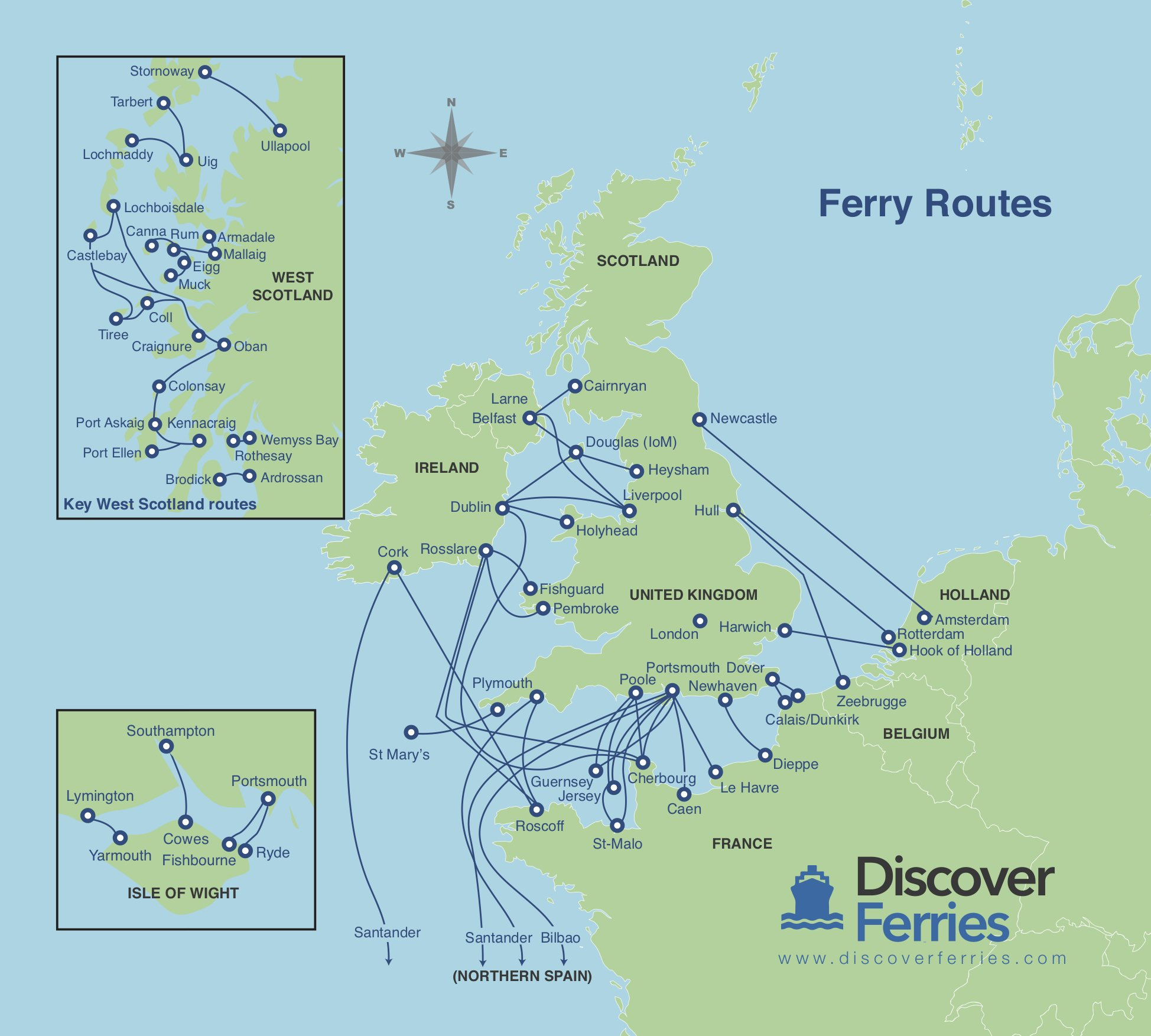 discover ferries map